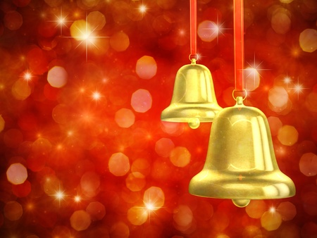 Golden christmas bells on red sparkly background photo