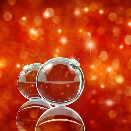 glittery: Glass christmas baubles on red sparkly background