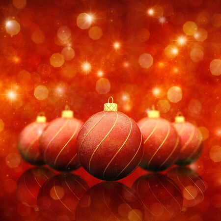 Christmas baubles on red sparkly background Stock Photo - 11174962