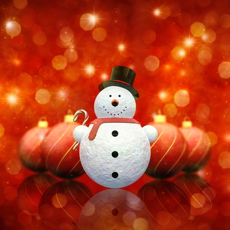 Decorative snowman holding a candy cane and christmas baubles on red sparkly background