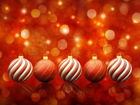 glittery: Christmas baubles on red sparkly background Stock Photo