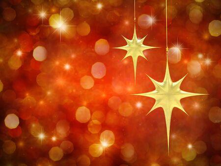 Étoiles de Noël sur le rouge fond étoilé