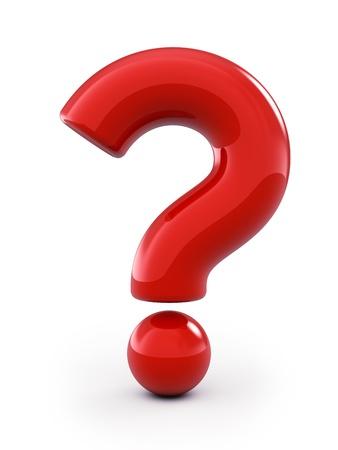 punto interrogativo: Punto interrogativo rosso, isolato su bianco