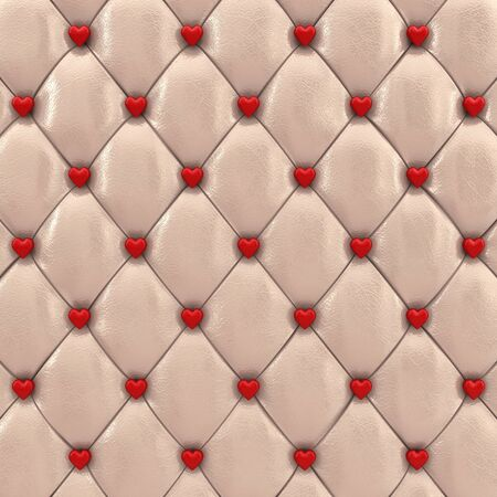the padding: Beige upholstery pattern with red hearts , 3d illustration