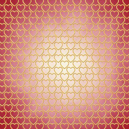 jealousy: Gold hearts on red background , Valentines day celebration Stock Photo