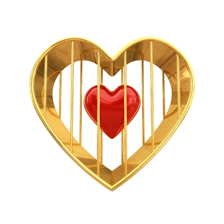 Red heart in golden cage , isolated on white Stock Photo - 11842196