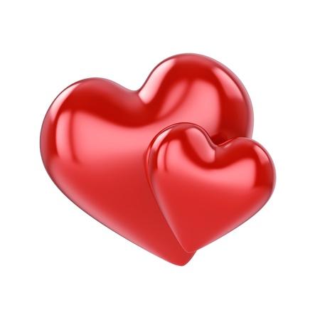 Couple de coeurs rouges, isolé sur blanc Banque d'images