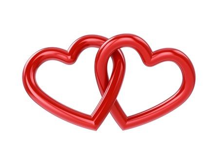Couple de l'intersection des coeurs rouges, isolé sur blanc