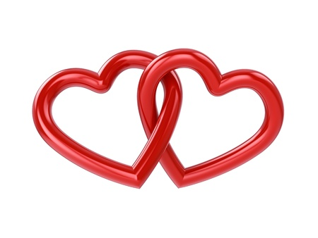 Couple of intersecting red hearts , isolated on white