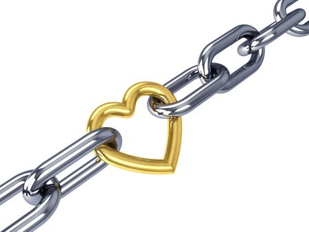 intersect: Golden heart link in a chrome chain, isolated on white