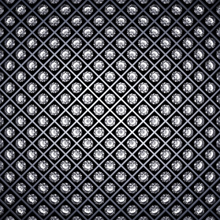 Diamonds and metal grid background