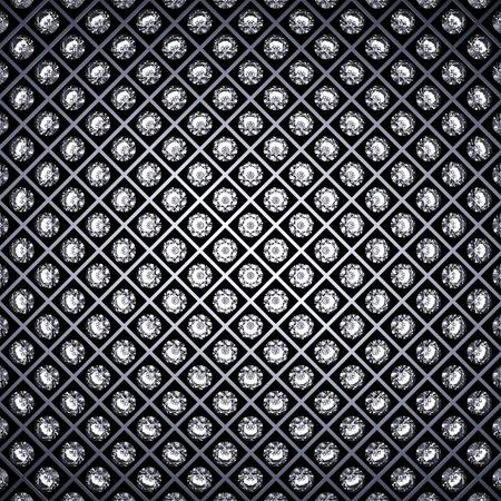 gemstone jewelry: Diamonds and metal grid background
