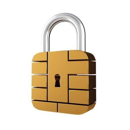 transaction: Beveiliging creditcard chip als hangslot, geïsoleerd op wit Stockfoto