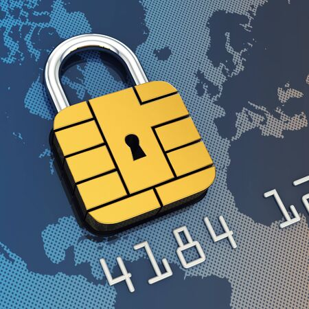 Credit card security chip as padlock photo