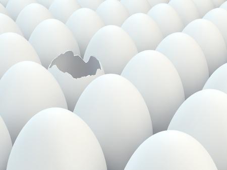 cracked egg: Broken egg in a group of white eggs
