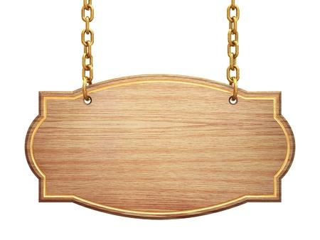 Blank enseigne en bois suspendus sur les chaînes de laiton, isolé sur blanc