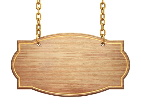 Blank wooden signboard hanging on brass chains , isolated on white