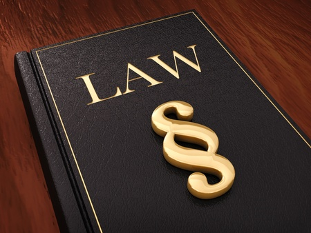 Golden paragraph sign and a law book  photo