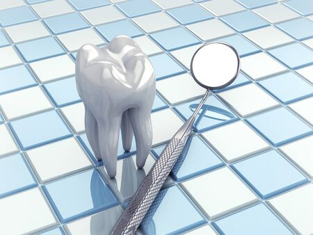 oral hygiene: Angled mirror and tooth model on white and blue tiles