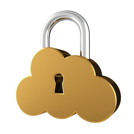 protected database: Cloud sign as padlock , isolated on white