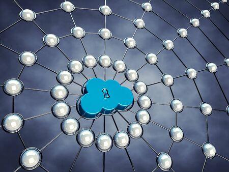 Secure cloud network , 3d illustration illustration