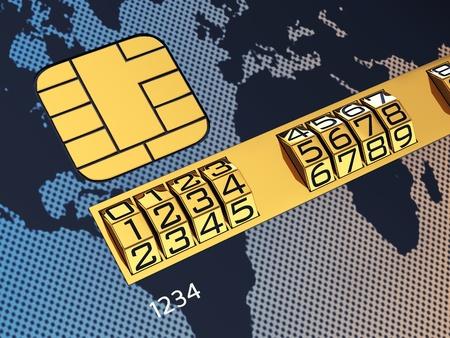 Générique de carte de crédit avec serrure à combinaison en tant que numéro d'identification Banque d'images