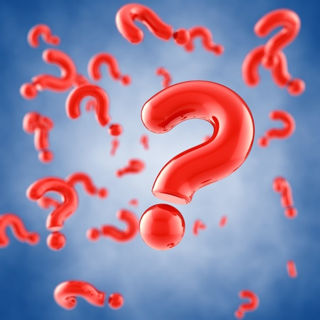 Red question marks on blue background  Stock Photo - 13324803