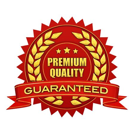 Premium quality guaranteed , red and gold label , isolated on white Stock Photo