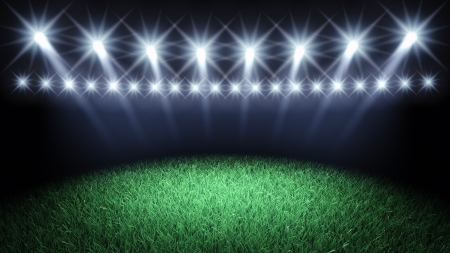sports event: Sports arena spotlights and turf , 3d illustration