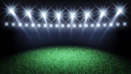 lighting: Sports arena spotlights and turf , 3d illustration