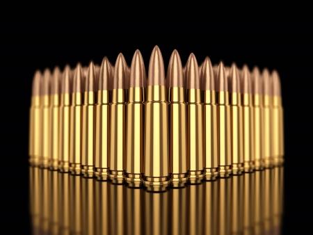 projectile: Cartridges on black reflective background