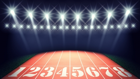 race track: Track lanes and floodlights , summer sports competitions stadium Stock Photo