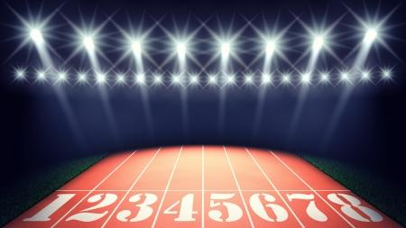 Voies de circulation et projecteurs, Jeux Olympiques d'été de stade Banque d'images