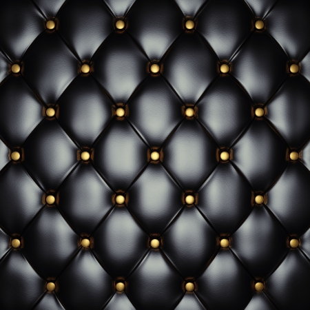 leather background: Black leather upholstery with gold buttons , 3d illustration