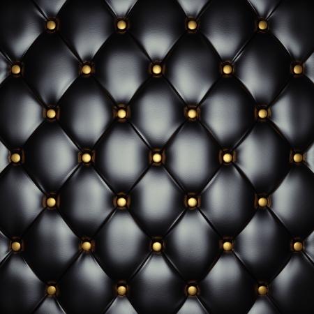 Sellerie en cuir noir avec des boutons d'or, illustration 3d Banque d'images
