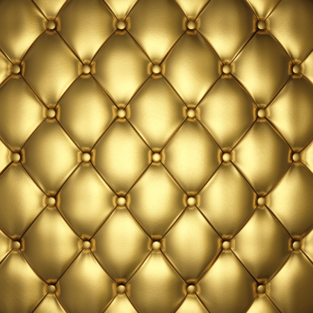 upholstered: Gold leather upholstery , 3d illustration