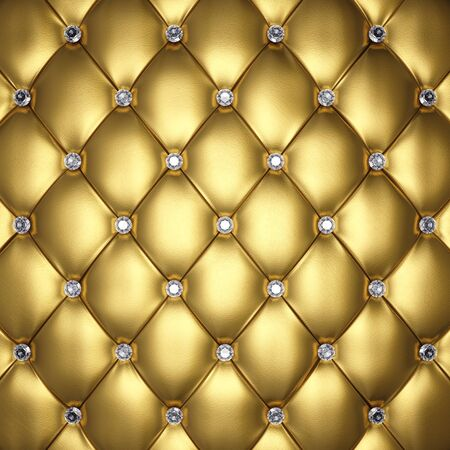 posh: Golden leather upholstery with diamond buttons, 3d illustration