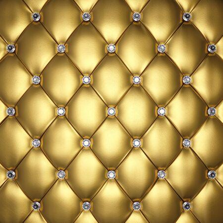 Sellerie cuir doré avec boutons de diamant, illustration 3d