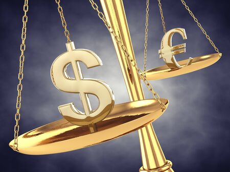 interests: Dollar and euro signs on a brass scale , 3d illustration Stock Photo