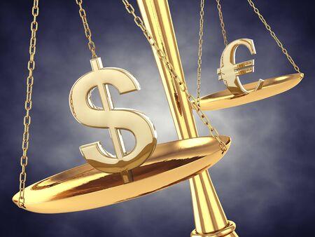 Signes dollar et l'euro sur une échelle en laiton, illustration 3d Banque d'images