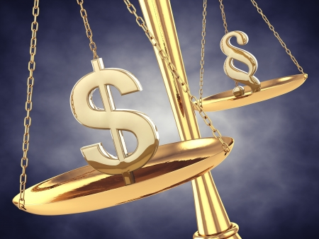 leverage: Dollar and paragraph sign on a brass scale , 3d illustration