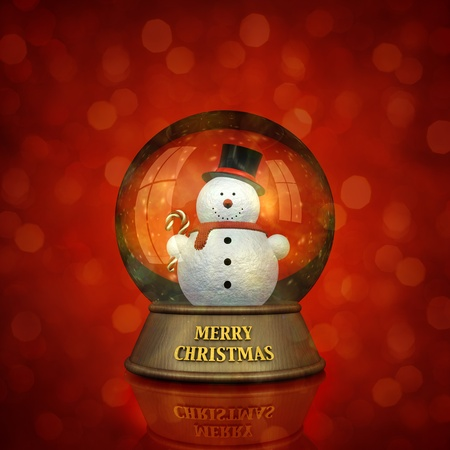 Snow dome with snowman holding candy cane and Merry Christmas inscription , on red defocused background photo