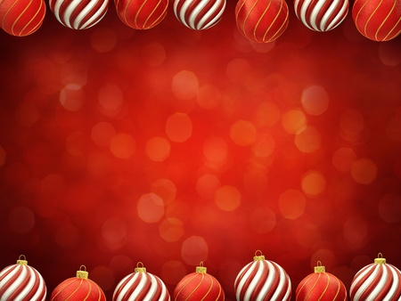 Christmas baubles frame on red defocused background , center copyspace photo