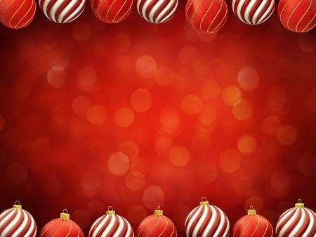 Christmas baubles frame on red defocused background , center copyspace