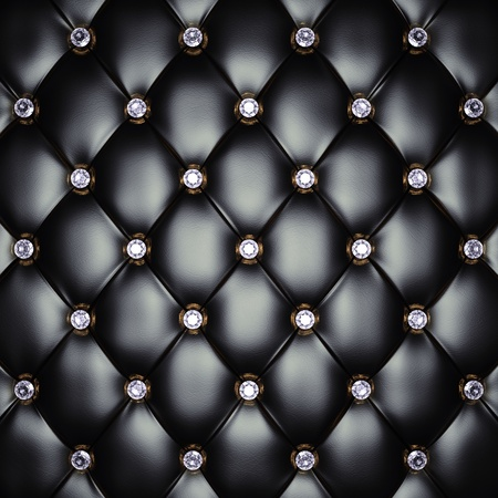 padding: Black upholstery pattern with diamonds , 3d illustration Stock Photo