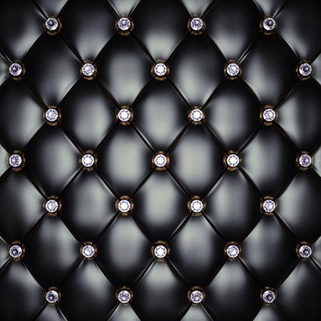 diamante negro: Patr�n tapizado negro con diamantes, ilustraci�n 3d
