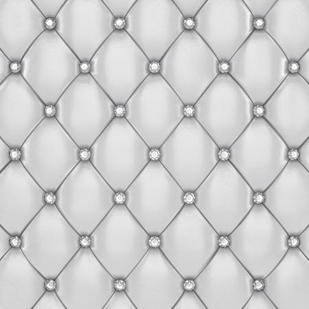 Modèle Tapisserie blanche avec des boutons de diamants, illustration 3d