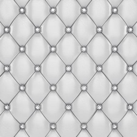 White upholstery pattern with diamond buttons , 3d illustration Stock Photo