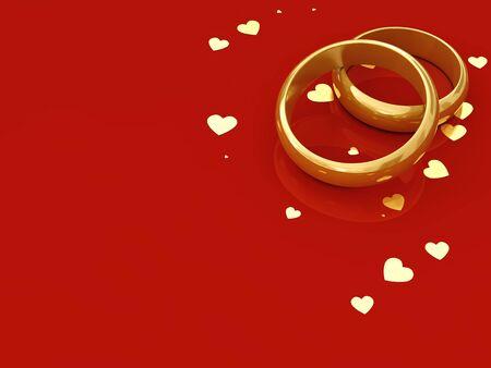 matrimonio feliz: Anillos de bodas de oro y corazones en fondo rojo con copia espacio