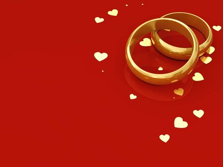 vow: Golden wedding rings and hearts on red background with copy space